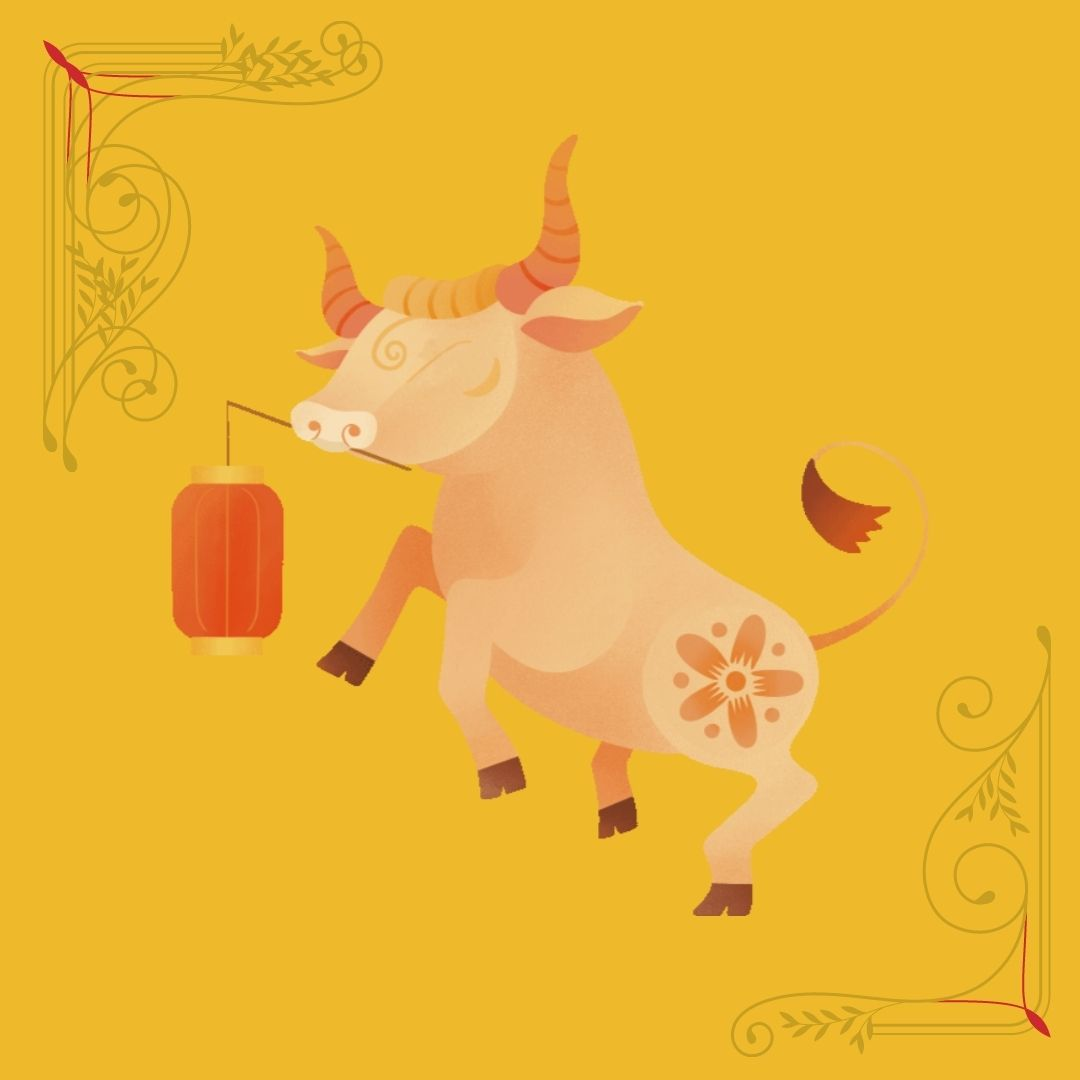 an ox holding a red lantern on a yellow background with gold border